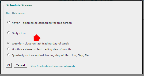 Stock Screener Schedule Screen Setup