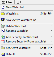 Watchlist Menu